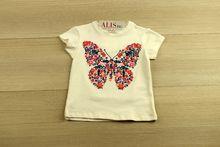 Детска блуза с къс ръкав -  butterfly - бяла от 3 до 10 годишни