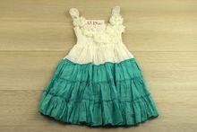 Свежа детска рокля в зелено за 2 и 4 годишни