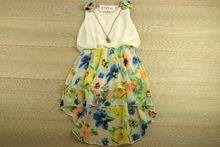 Детска рокля с колие - PINK GIRL - бяла за 2,4,6,8 годишни