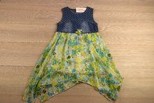 Асиметрична детска ежедневна рокля - зелена за 10 годишни