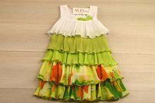 Свежа ежедневна детска рокля - зелена за 4 годишни