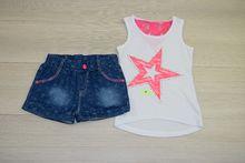 Моден комплект с къси панталонки - бял за 4 годишни