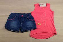 Моден комплект с къси панталонки - розов за 4 и 6 годишни