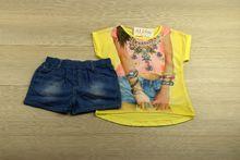 Комплект с модна апликация за момичета - жълт от 8 до 16 годишни