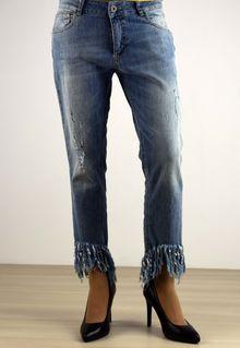 Дамски дънки тип потури - 012 - светло сини