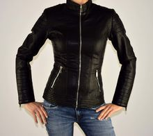 Дамско кожено яке - 1519 - черно
