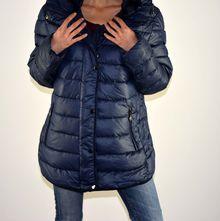 Дамско зимно яке - 1605 - големи размери - тъмно синьо