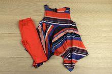 Комплект за момичета с асиметрия - цвят корал за 4 годишни
