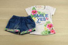 Комплект с къси панталонки - SMILE YES - бял за 4 г.
