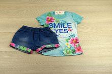 Комплект с къси панталонки - SMILE YES - зелен за 8,10,12 г.