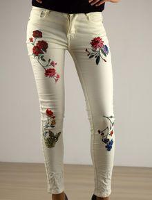 Дамски панталон с апликация - 033 - бял