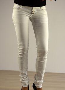 Дамски панталон съчетание с кожа  - 034 - бял