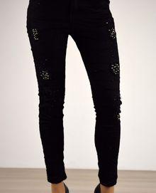 Дамски панталон есенен с капси - 043 - черен
