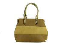 Цветна дамска чанта - TRICOLOR - тъмно бежова