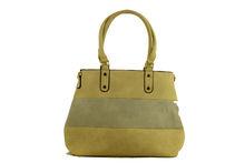 Цветна дамска чанта - TRICOLOR - бежова