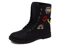 Дамски боти модно апликирани - 062 - черни