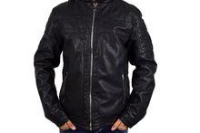 Кожено зимно мъжко яке - 1107 - черно до 5XL