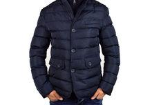 Елегантно мъжко зимно яке - 1112 - тъмно синьо