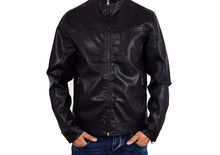 Кожено мъжко яке - 1111 - черно