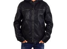 Мъжко кожено яке големи размери - 1117 - черно