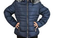 Дамско зимно яке големи размери - тъмно синьо