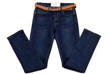 Дамски дънки - SIMPLY II - тъмно сини с колан