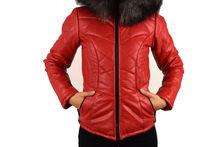 Кожено есенно - зимно дамско яке - 1617 - червено
