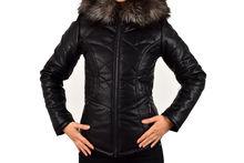 Кожено зимно дамско яке - 1617 - черно