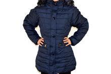 Дамско зимно яке модел в големи размери - тъмно синьо