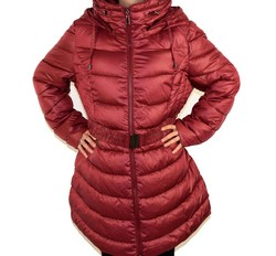 Зимно дамско яке модел в размери до 56 - бордо