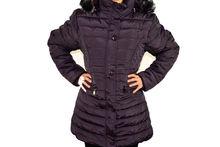 Зимно дамско яке модел в големи размери - тъмно лилаво