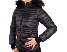 Зимно дамско яке - 1623 - черно с черен пух
