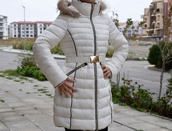 Дамско дълго зимно яке - 1613 - бяло