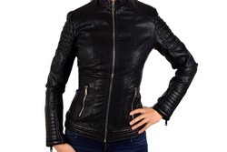 Дамско кожено яке - 1520 - черно