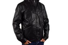 Кожено мъжко зимно яке - 1128 - черно