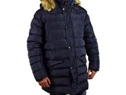 Дълго зимно мъжко яке - 1131 - тъмно синьо в големи размери