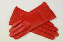 Дамски ръкавици естествена кожа код 026-червен