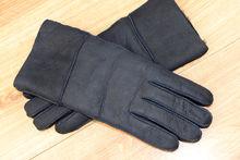 Дамски ръкавици естествена кожа с дебела вата код 031-тъмно сини