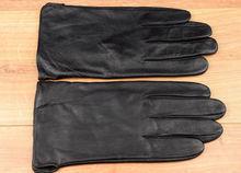 Мъжки ръкавици ЕСТЕСТВЕНА КОЖА - черни-код 007- големи размери