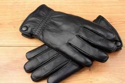 Мъжки ръкавици естествена кожа с дебела вата-код 0012-черни