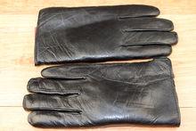 Мъжки ръкавици естествена кожа с дебела вата-код 0011- черни