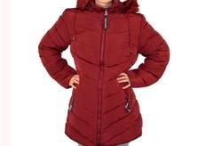 Дълго зимно дамско яке - 1630 - бордо