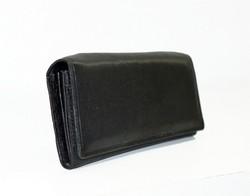 Дамски портфейл ЕСТЕСТВЕНА КОЖА - код 510-тъмно черен