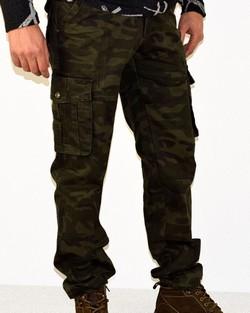 Мъжки камуфлажен панталон - 1001 - тъмно зелен