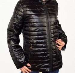 Дамско яке с две лица големи размери сезон пролет - есен - 1523 - черно