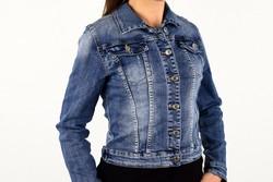 Дамско дънково яке -0001 - синьо