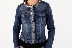 Дамско дънково яке с перли - 0002 - синьо