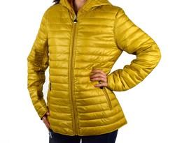 Дамско яке с две лица големи размери сезон пролет - есен - 1523 -  горчица