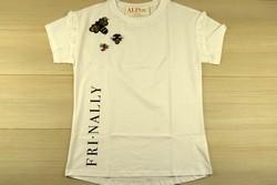 Дамска блуза с къс ръкав - 5004 - бяла с брошка