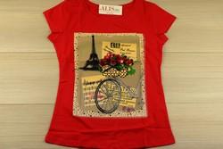 Дамска блуза с къс ръкав - 5005 - червена с апликация